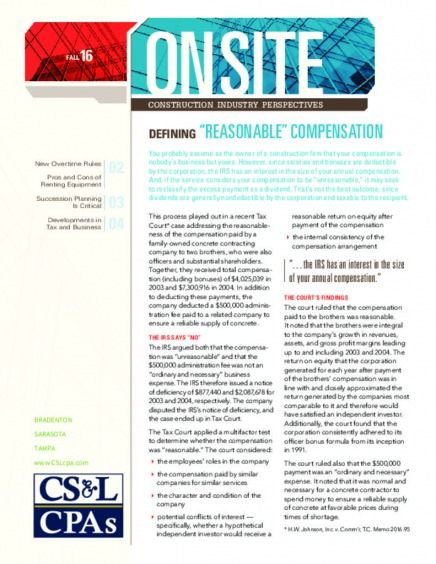 CSLCPA Onsite Construction Newsletter - Fall 2016